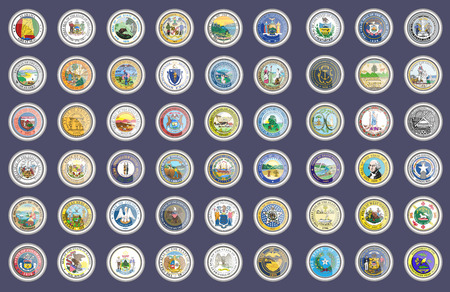 Set of icons. States of USA seals. Vector. 3D. Illustration