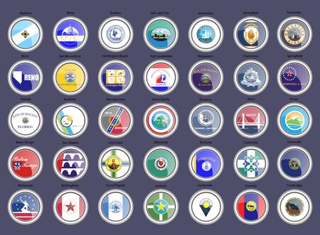 Set of icons. Cities of the USA flags. Vector.