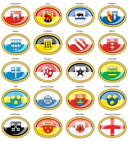 Set of icons. Flags of german cities (Baden-Wurttemberg). Vector.