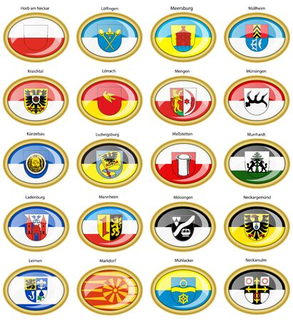 am: Set of icons. Flags of german cities (Baden-Wurttemberg). Vector. 3D. Illustration