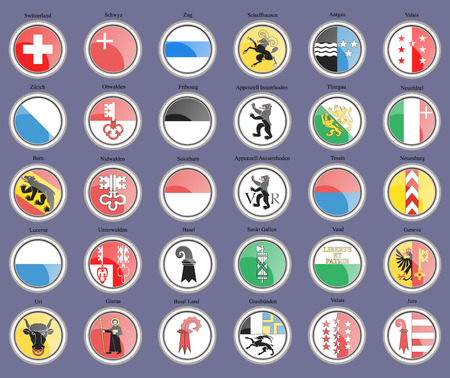 Set of icons. Cantons of Switzerland Flags. 矢量图像