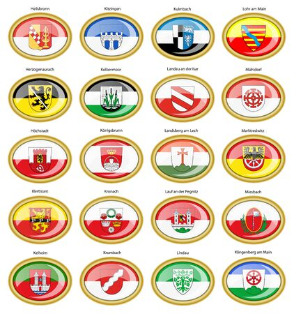 am: Set of icons. Flags of german cities (Bavaria). Vector. 3D. Illustration