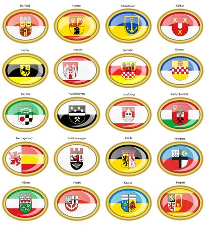 Set of icons. Flags of german cities (North Rhine-Westphalia). Vector. 3D. Ilustrace
