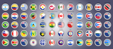 Set of icons. Flags of North, South and Central America. 3D illustration. Vector. Illustration