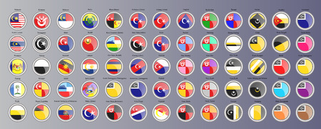 Set of icons. Flags of the Malaysian regions. 3D illustration. Vector.