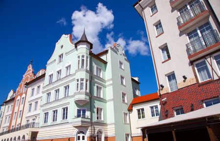 Part of buildings in the Rybnaya derevnya. Kaliningrad, Russia. Stok Fotoğraf