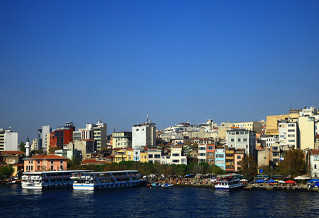 Panorama of the Golden Horn in Istanbul. Turkey.