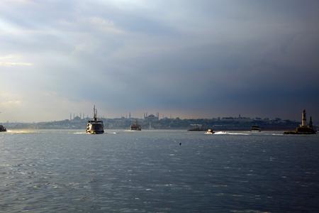Panorama of the Bosphorus strait in Istanbul, Turkey. Twilight.