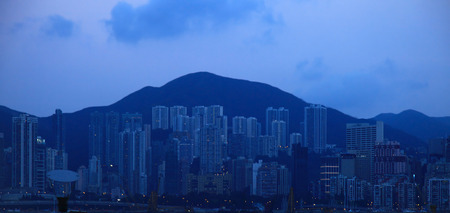 View of the Central District, Hong Kong. Twilight.