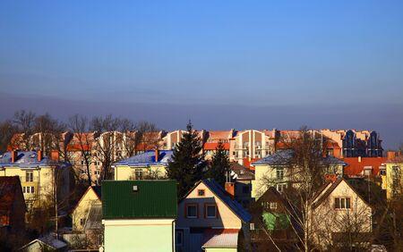 Residential buildings in the Kaliningrad (Leningrad District), Russia. Winter. Stok Fotoğraf