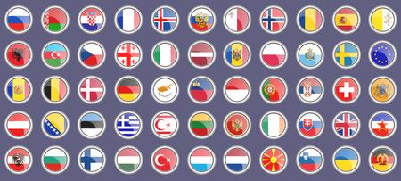Drapeaux de l'Europe. Ensemble d'icônes. 3D. Vecteur. Banque d'images - 91737450