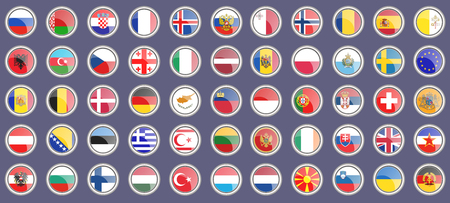 Flags of the Europe. Set of icons. 3D. Vector.