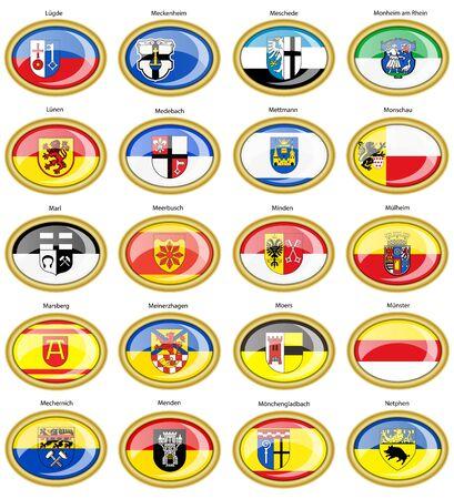 Set of icons. Flags of german cities (North Rhine-Westphalia). Vector. 3D. Çizim
