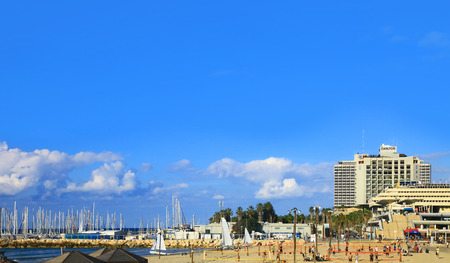 TEL AVIV, ISRAEL - 27 AUGUST, 2014: Beach located in the surroundings of Eliezer Peri street , Tel Aviv.
