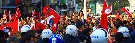 ISTANBUL, TURKEY - 29 OCTOBER, 2013: Celebration of the Republic Day (Istiklal Street).
