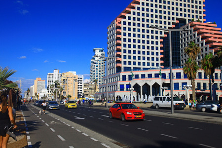 TEL AVIV, ISRAEL - 15 DECEMBER, 2012: View of the Shlomo Lahat promenade in the Tel Aviv city center.