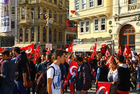 ISTANBUL, TURKEY - 29 October, 2013: People celebrating the Republic Day of Turkey on the Istiklal street, Istanbul.