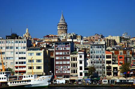 ISTANBUL, TURKEY - 25 OCTOBER, 2013: Panorama of the Golden Horn in Istanbul. Turkey.