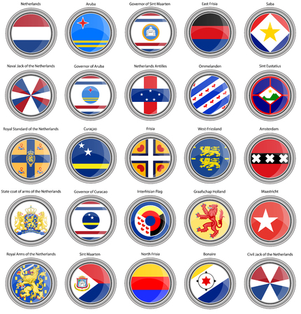Set van pictogrammen. Vlaggen van Nederland. 3D.
