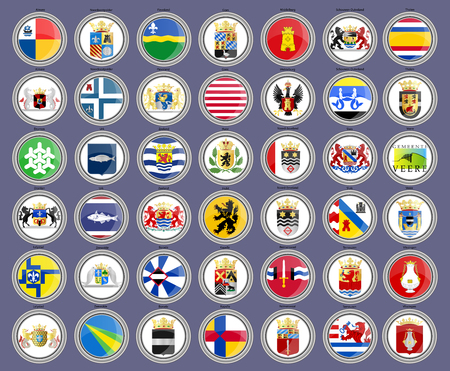Set of icons. Flags of the Netherlands. Municipalities of Flevoland and Zeeland provinces. 3D. Vector.