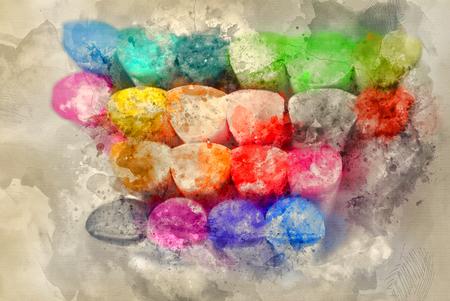 Knetgummirollen in aquareloptiek Stockfoto