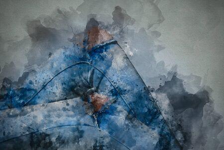 Benen in jeans löchriger in aquarel optiek