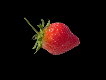 horizontale: Strawberry with  tail horizontale black bottom Stock Photo