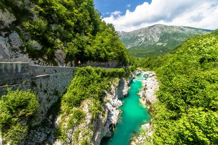 The Soca River is famous for its emerald color. Standard-Bild