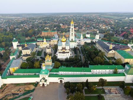 Aerial view at dawn on Holy Trinity Sergei lavra. Central tourist route Gold Ring of Russia.