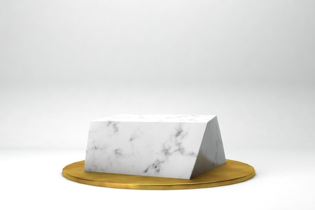 geometric shape 3d rendering stage for products or achivments marble and gold