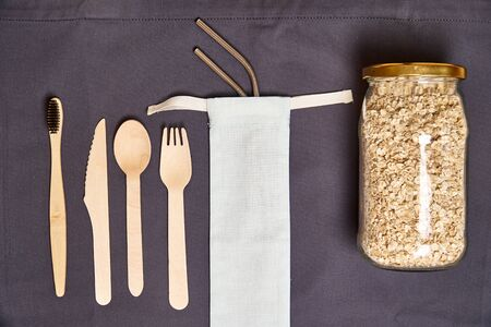 Set of Eco friendly bamboo cutlery, eco bag, metal straw. Sustainable. Plastic free.