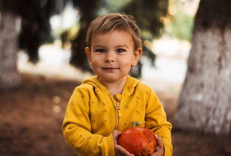 Little beautiful girl toddler holding pumpkin outdoors on sunny fall day. Halloween concept