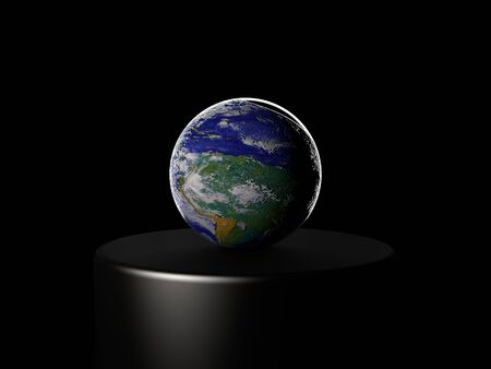 3d render of Earth planet on black stage. Stock Photo