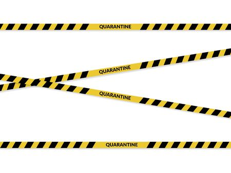 Isolated yellow tapes with quarantine sign on it. Coronavirus pandemic area.