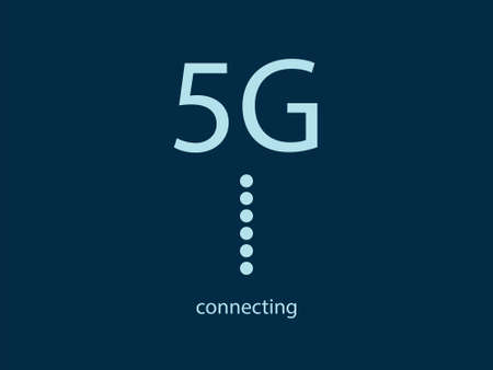Blue background with 5G sign and connecting text. Fast mobile network. Evolution in technology