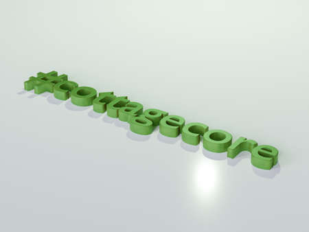 Cottagecore 3d render text in green color on white background.
