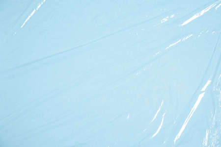 Clear plastic texture with blue color. Nylon polythene wrap. Plastic free lifestyle, ecology pollution Stock fotó