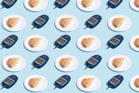 Glucose meter and plate with pie on blue background with shadow, Metabolic syndrome concept