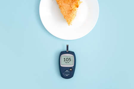 Healthy lifestyle concept. Health care. Medical diabetes meter equipment. Top view of glucose blood test. World diabetes health day.