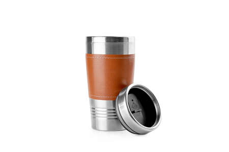 Isolated in white thermo reusable cup of stainless steel and leather. Eco friendly lifestyle