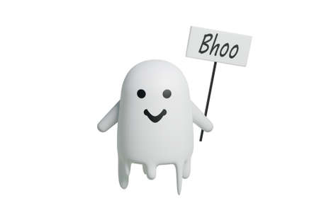 Funny friendly ghost flying on isolated white background, 3d render of halloween cute character. Stock fotó