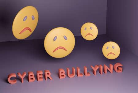 Cyber bullying concept, sad emoji in dark room. 3d render