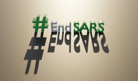 End sars in flat style. Police violence. Stop violence. Police brutality. No justice no peace. 3d render Stock fotó