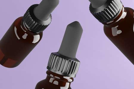 3d render of three flying amber glass bottles for oils.