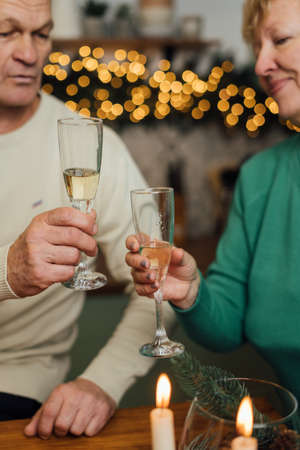 Happy elderly couple celebrating wedding anniversary. 60s happy retirement. Valentines seniors day. Champagne date 写真素材