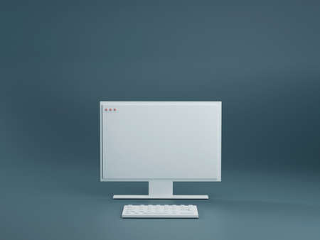 WHite pc computer with keyboard on dark blue studio background. Technology concept 3d render. Modern home office workstation. Minimal style.