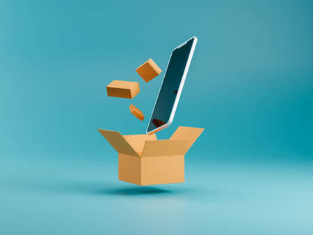 smartphone with box and small delivery packages on blue background. m-commerce concept. online shopping from phone. package delivery. 3d renders Banco de Imagens