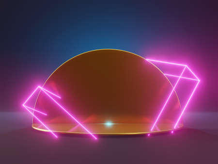 3d render golden pedestal with neon lights. Abstract product display in futuristic style. Laser party, club night life, gamer station