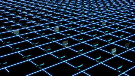 3d render of blochain with computers, cryptocurrency farm mining. Big data concept. Artificial intellegence. Supercomputer Banco de Imagens - 165565162