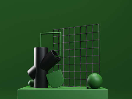 3d render stage with abstract geometric shapes in green and black colors. Modern unreal composition in futuristic style Banco de Imagens